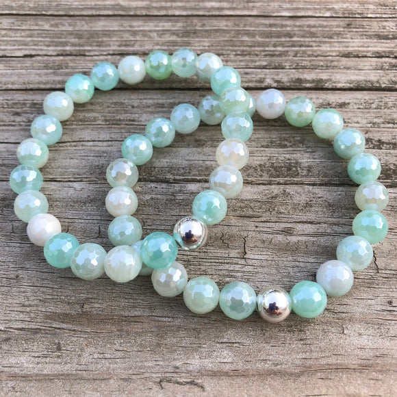 Plated Green Agate Bracelet