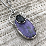 Purple Charoite and Black Onyx Necklace