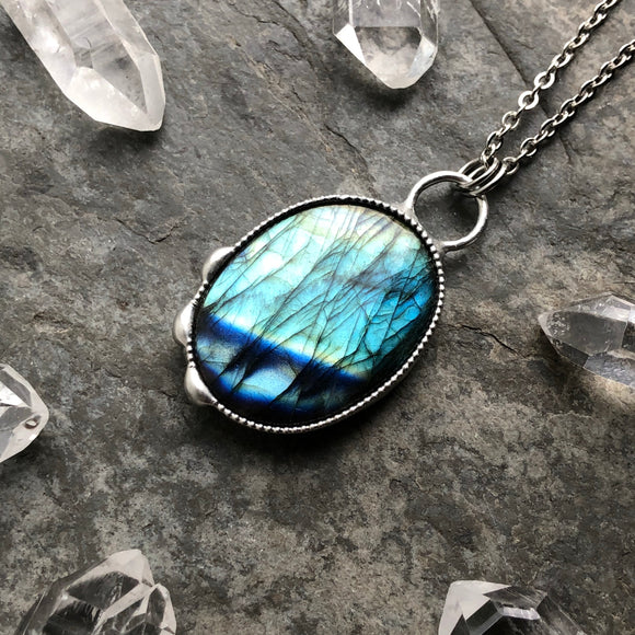 Teal and Blue Labradorite Necklace