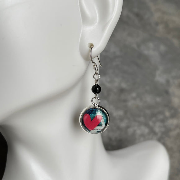 Heart Earrings with Black Onyx