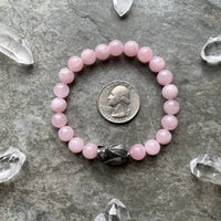 Rose Quartz with Pewter Bat Beaded Bracelet