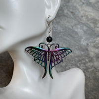 Rainbow Butterfly with Matte Black Onyx Earrings