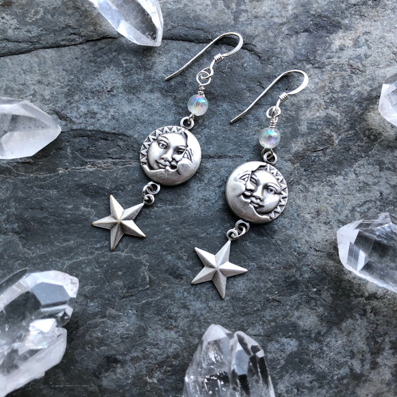 Sun Moon and Star Earrings with Aura Quartz