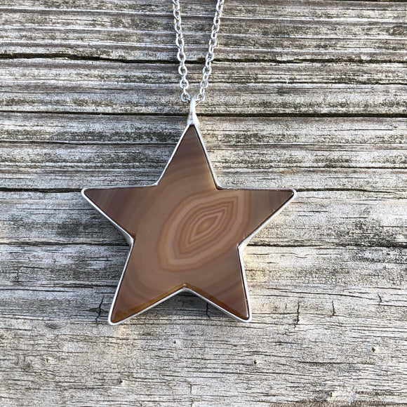 Tan Agate Star Necklace