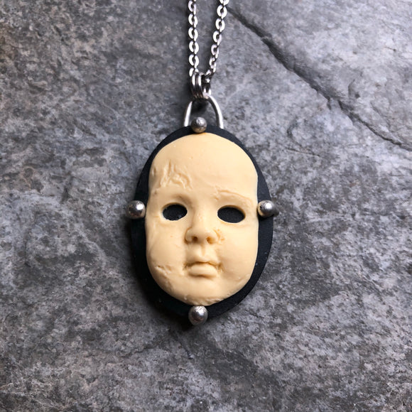 Babydoll Face Creepy Cameo Necklace