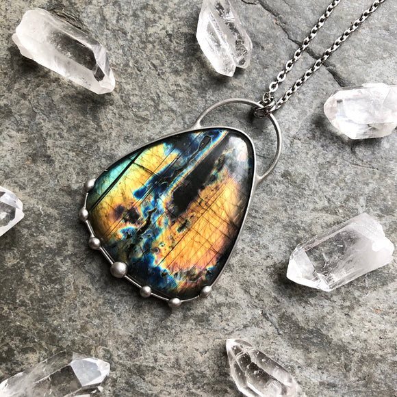 Multi Flash Labradorite Necklace