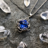Argentium Silver with Swarovski Crystal Chainmaille Pendant *Chain Not Included*