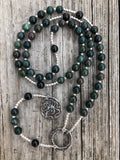Bloodstone and Black Onyx with Sterling Silver and Pewter Alternative Rosary