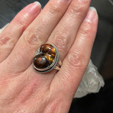 Mexican Fire Agate and Sterling Silver Ring Size 9