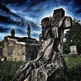 Mourning Statue Matted Photograph