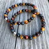 Multi Colored Tiger's Eye Bracelet with Sterling