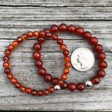 Carnelian with Sterling Silver Beaded Stretch Bracelet *You Chose Bead Size*
