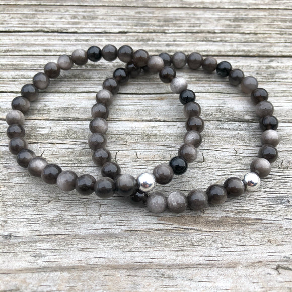 Silver Sheen Obsidian Beaded Bracelet *You choose size of beads*