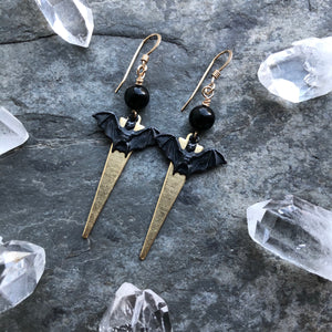 Raw Brass and Dark Patina Bat Earrings with Black Onyx