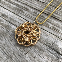 Gold Filled Chainmaille Mandala Necklace