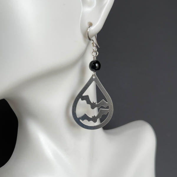 Bats with Black Onyx Earrings