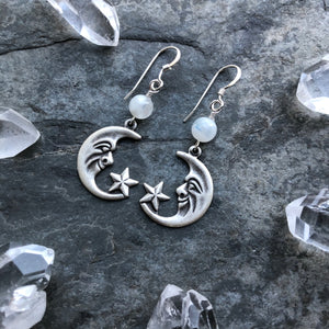 Moon and Star Earrings with Rainbow Moonstone