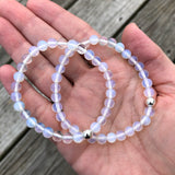 Opalite with Sterling Silver Beaded Stretch Bracelet, 6mm Beads