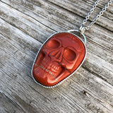Red Jasper Skull Necklace