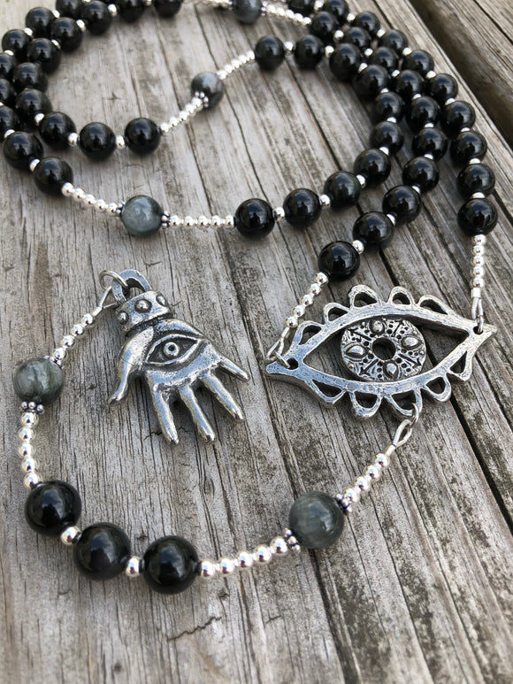 Rainbow Obsidian and Eagle Eye with Sterling Silver and Pewter Alternative Rosary