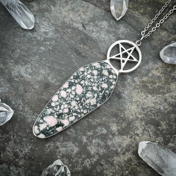 Canadian Rhodonite Coffin Pentacle Necklace