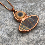 Tiger Iron with Tiger Iron with Glass Mountain Lion Eye Electroformed Pendant