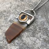 Striped Agate with Glass Bobcat Eye Solder over Electroformed Pendant