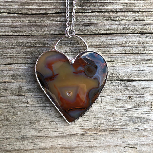 Purple Cow Agate Heart Necklace