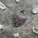 Crinoid Fossil Heart Necklace