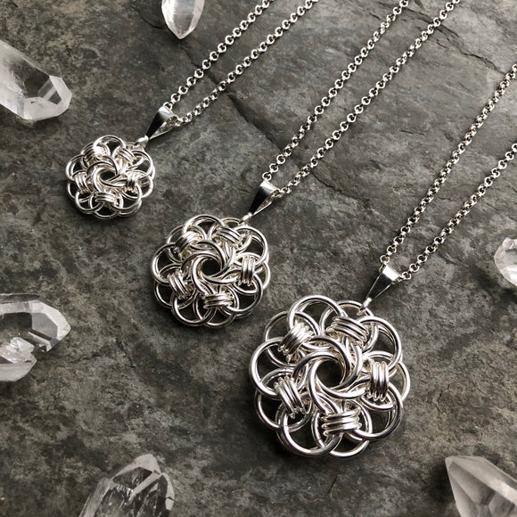 Sterling Silver Mandala Chainmaille Pendant *You Choose Size, Chain Not Included*