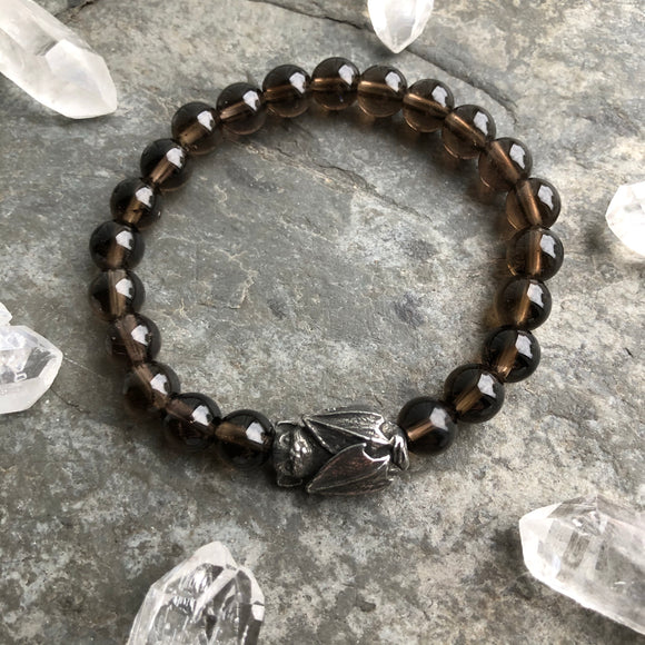 Smoky Quartz with Pewter Bat Beaded Bracelet