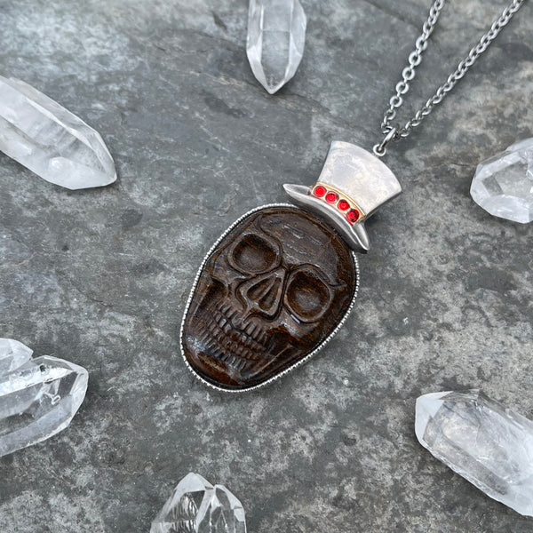 Bronzite Skull with Top Hat Necklace