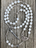 Rainbow Moonstone and Quartz with Sterling Silver and Silver Plated Alternative Rosary