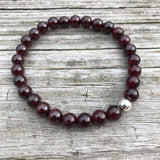 Garnet with Sterling Silver Beaded Stretch Bracelet, 6mm Beads