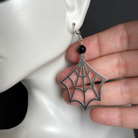 Spider Web and Faceted Black Onyx Earrings