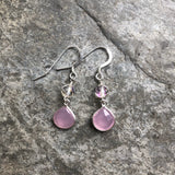 Pink Chalcedony with Aura Quartz Earrings