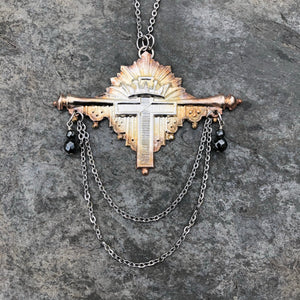 Victorian Era Coffin Escutcheon Cross Necklace with Hematite