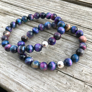 Tie Dye Tigers Eye and Sterling Silver Bracelet