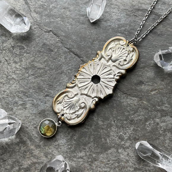 Large Victorian Era Coffin Escutcheon Necklace with Labradorite (Style 2)