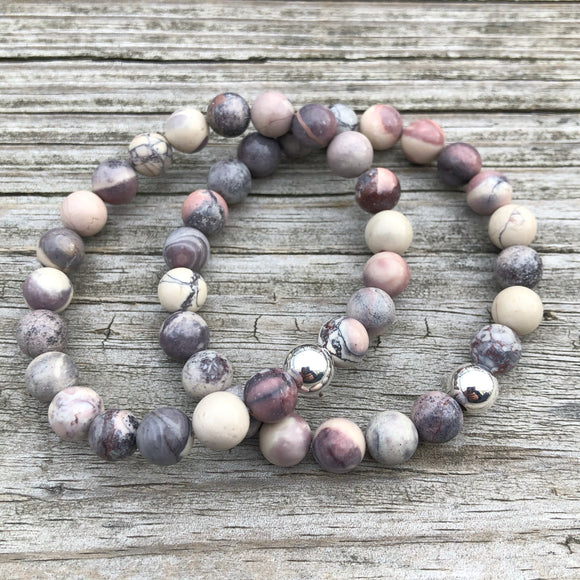 Porcelain Jasper with Sterling Silver Beaded Stretch Bracelet, 8mm Beads