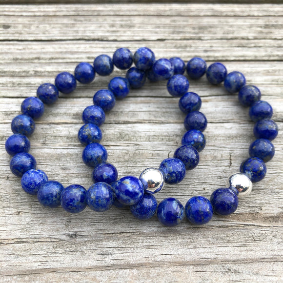 Lapis with Sterling Silver Beaded Stretch Bracelet, 8mm Beads