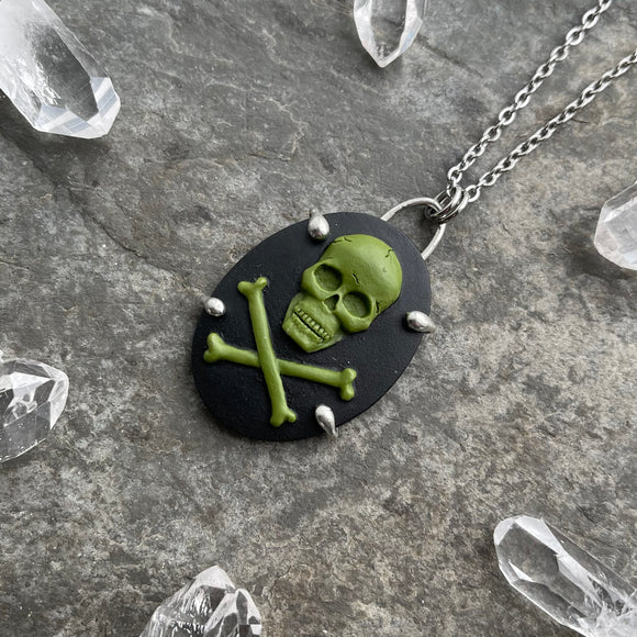 Green Skull and Crossbones Cameo Necklace