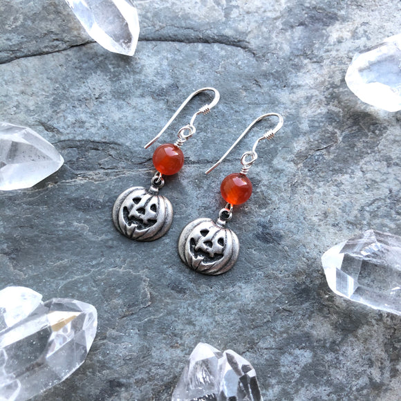 Jack O Lantern Earrings with Carnelian