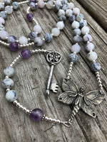 Merlinite and Amethyst with Sterling Silver and Pewter Beaded Alternative Rosary