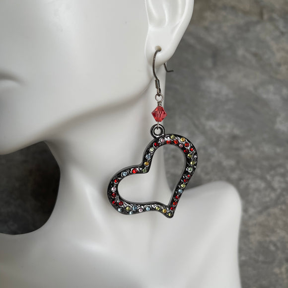 Rhinestone and Swarovski Heart Earrings