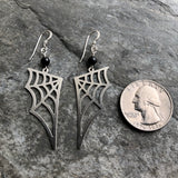 Spider Web and Black Tourmaline Earrings