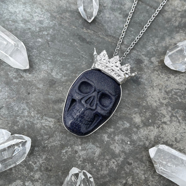 Blue Goldstone Skull with Royal Crown Necklace