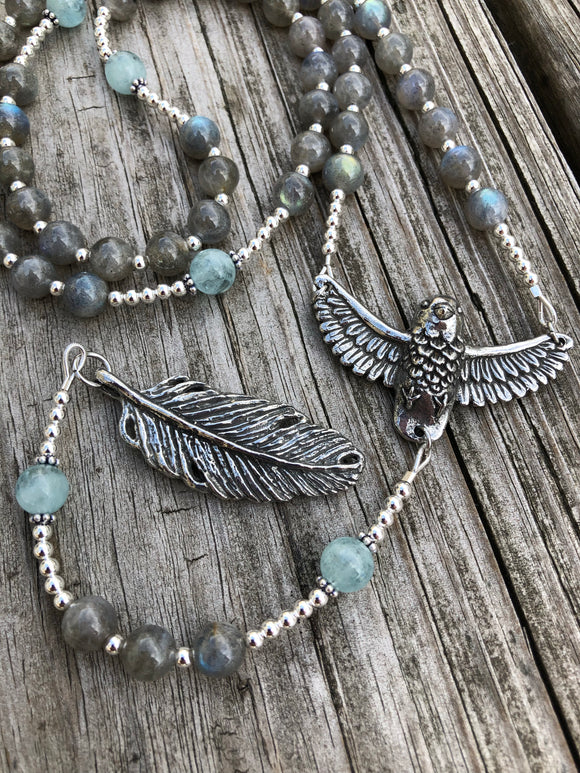 Labradorite and Aquamarine with Sterling Silver and Pewter Alternative Rosary