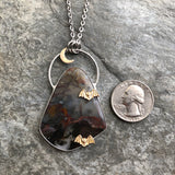 Jasper Necklace with Moon and Bats
