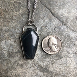 Spiderweb Obsidian Coffin Necklace